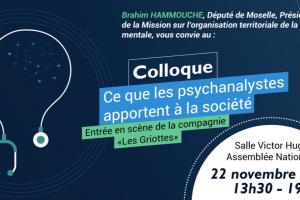 Colloque Assemblée Nationale:Ce que les  psychanalystes apportent à la société. 22/11/2019
