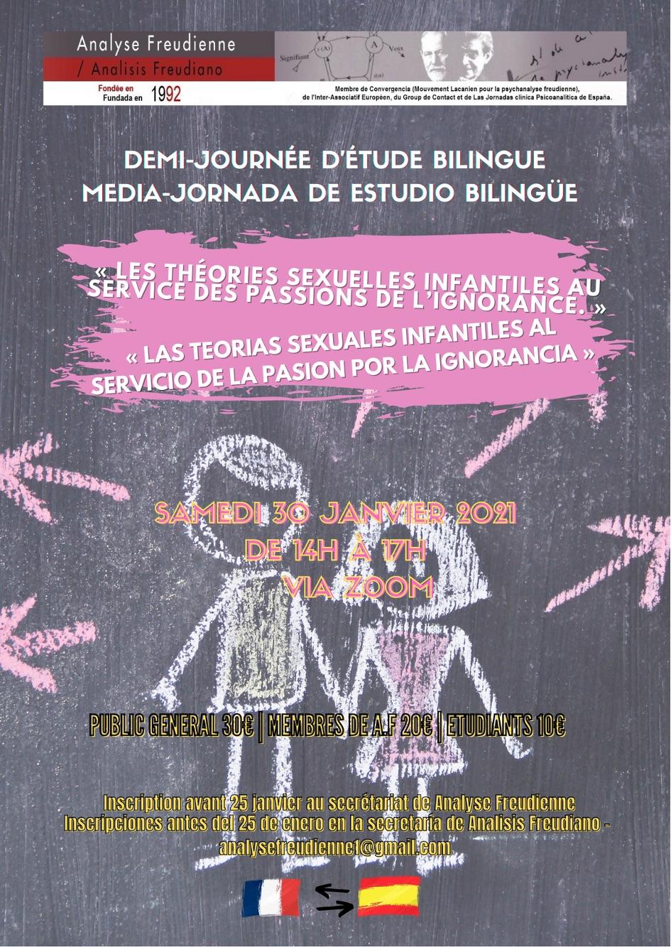 Paris Demi journée d'étude – « Les théories sexuelles infantiles au service des passions de l'ignorance. » – Samedi 30 Janvier 2021 -EN VISIOCONFÉRENCE -ZOOM
